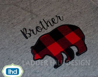 Brother Bear ApplIque Embroidery -- Brother Embroidery Applique -- Bear Applique Embroidery -- Appliques for Boys Embroidery Design BO0021