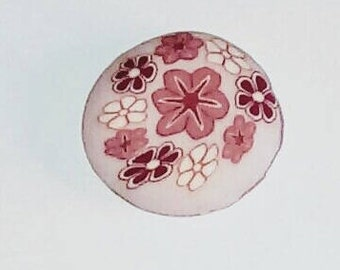 X 1 floral bead polymer clay 20mm