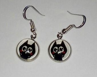 Black Cat Head earrings