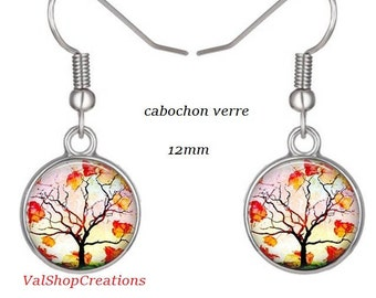 Tree of life glass cabochon earrings