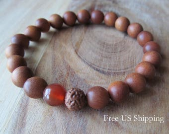 8mm Sandalwood, Carnelian and Rudraksha Bracelet, Mens or Womens Bracelet, Buddhist Yoga Jewelry, Mala Bracelet, Beaded Wood Bracelet
