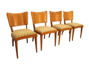 Set of 4 Mid-Century Modern Heywood Wakefield Champagne Stingray Dining Chairs