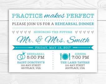 Rehearsal Dinner Invitation, Practice Makes Perfect Invitation, Wedding Rehearsal Dinner, Printable Invitation, Digital Files, ANY COLORS