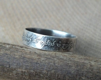 Sterling Silver Personalised Message Ring, Lord Of The Rings, Elvish Script Ring, Not All Those Who Wander Are Lost, Customise Your Own