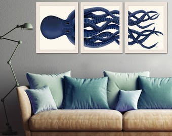 Giant Octopus Print Blue Octopus Triptych Set Of 3 Octopus Poster Giclee Poster Nautical Decor