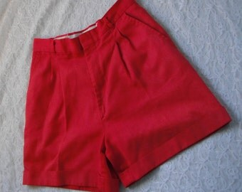Vintage Red Shorts High Waisted Pleated Sycamore S