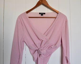 sheer pink frilled sleeve top