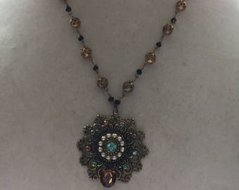 Handmade Vintage Necklace Repurposed Assemblage Faux Pearls