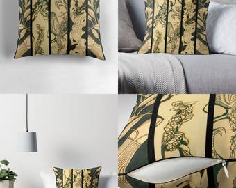 Solar Art - Solar Pyrography — Throw Pillow w/Magnificent Solar Etched Design ~ 'Quadriptych' / Spun Polyester / Stunning, Stylish & Unique