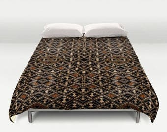African Art Duvet Cover ~ Featuring Exclusive Kuba Cloth Design - Variation #2 / Brushed Polyester Fabric / Stunning, Stylish & Unique