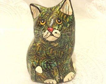 Vintage Folk Art Papier-Mâché Cat Sculpture, Retro Cat, Kitsch Kitten, Hand Crafted Art Object