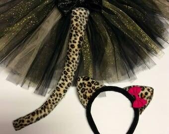 Leopard cat tutu costume, black gold cat costume, halloween costume, leopard tutu, leopard costume, baby costume, adult costume