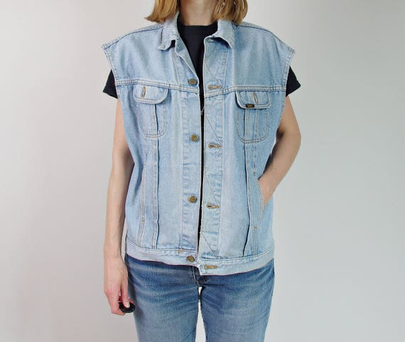 80s Lee distressed denim punk rock moto trucker vest / size L