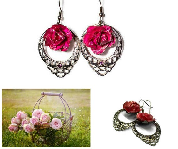 Pink paper rose chandelier dangle Eearrings  by GunaDesign
