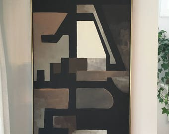 Vintage Mid Century Modern Large Original Abstract Oil Painting