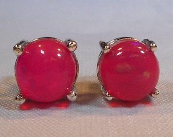Pink Fire Opal Studs|Pink Opal Earrings|Pink Opal Earrings|Hot Pink Fire Opal Studs|Natural Pink Opal Earrings|Solid Hot Pink Opal Earrings
