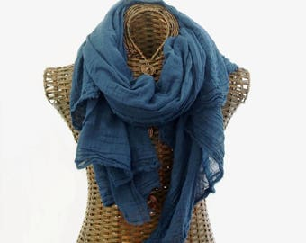 Hand Dyed Nomad Scarf, Extra Large, Teal Scarf, Lightweight Cotton Scarf, Cotton Gauze, Small Batch, Womens Mens Scarf, Gift, Sarong, Wrap