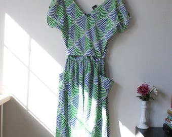 Blue and green Summer Tea-length Dress / Open-back / Size Large