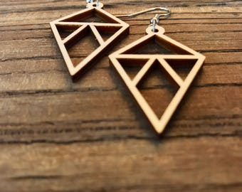 Triangle Laser-Cut Wood Earrings