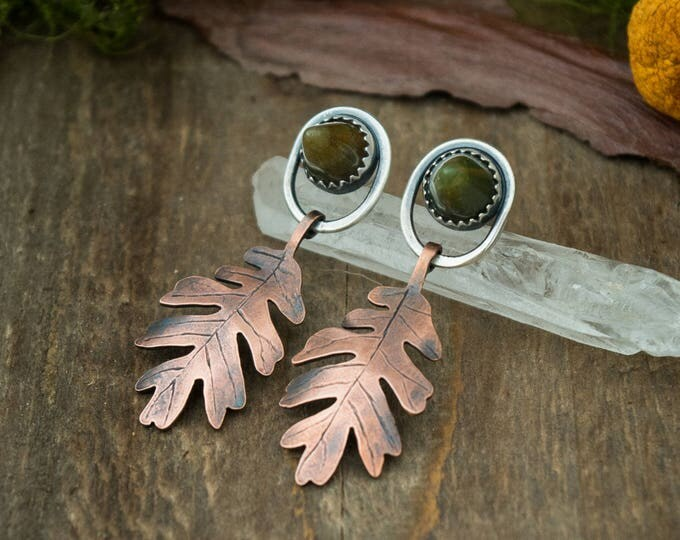 Oak Leaf Earrings, Copper, Sterling Silver, and Agate