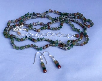 Moss Agate Southwest Style Long Necklace, Wrap Bracelet Hand Crochet on Pure Silk Thread, Matching Earrings & All Sterling Silver