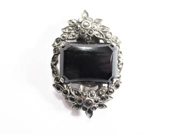 Antique Art Deco Pyrite Sterling Dress Clip Estate Jewelry 30s