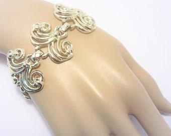 Wide Vintage Chunky Open Link Bracelet Gold Tone