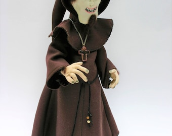 Mad Monk, a textile art doll, handmade cloth doll, creepy doll, one of a kind, macabre and Gothic prefect for Halloween