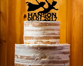 Peter Pan Wedding Cake Topper, Mr. & Mrs. Last Name Cake Topper, Wedding Cake Topper , Acrylic Topper, Cake Topper Party Decor - AT206
