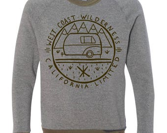 West Coast Wilderness California Outdoors RV Camping Forest Green Grey Pullover Men's Sweater Sweatshirt Cali Dreaming Made in California