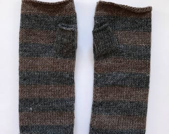 Fingerless mittens stripe USA made wool charcoal and warm umber brown