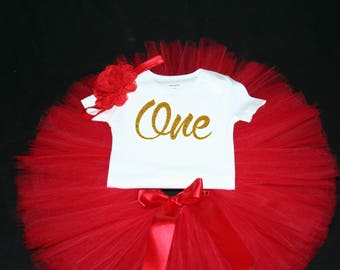 Red First Birthday Outfit, First Birthday Tutu Set, Red Birthday Tutu, Red Birthday Shirt  Set, Girls Birthday Outfit, Red Tutu, 1st Bday