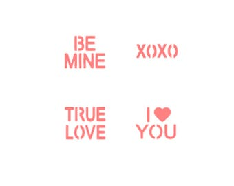 Conversation Hearts Oreo Stencils, Conversation Hearts Macaron Stencils, Valentines Day Oreo Stencil, Valentines Macaron Stencil