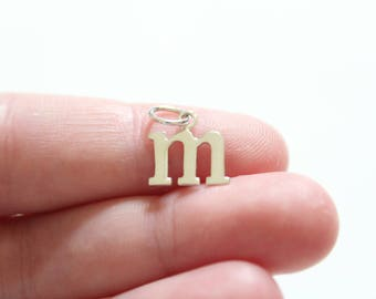 Sterling Silver Lowercase M Initial Charm, M Initial, Large M Letter Pendant, M Charm, Typewriter M Initial Charm, Letter M Charm, Initial M