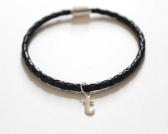 Leather Bracelet with Sterling Silver Typewriter T Letter Charm, Bracelet with Silver Letter T Pendant, Initial T Charm Bracelet, T Bracelet