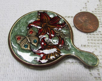 Vintage Jay Strongwater signed enamel and crystals purse mirror in original velvet pouch