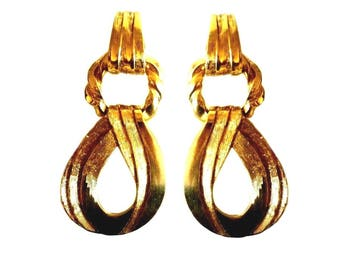 YVES SAINT LAURENT ~ Authentic Vintage Large Gold Plated Clip On Earrings Dangle Hoops