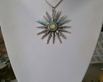 Large Spiky Silver Sun Pendant Necklace with Cream Yellow Czech Glass Crystal Stone on Silver Crossed Chain or Black Faux Suede Cord