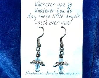 Clear Beaded Angel Fishhook Earrings