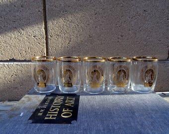 Vintage 5 COORS Gold Rim Beer Barrel Tasting Glasses, Collectible COORS Glasses, Beer Barrel Tasting Glasses, Golden Colorado,