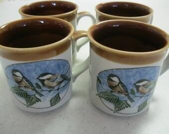 Set of Four Vintage Coffee Mugs - Chickadees