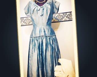 1950's Blue Grass Silk Dupioni Rockabilly Day Dress by R&K Originals, Vintage Green 1950's Silk Pin Up Day Dress Size Small