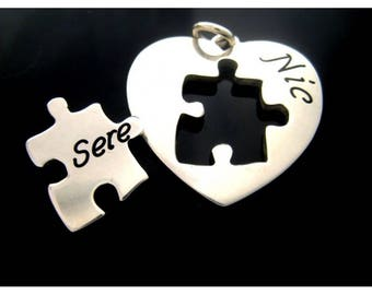 Heart with silver puzzle