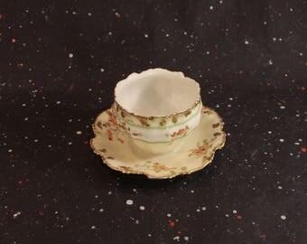 Limoges France Floral and Gold Gravy Boat Vintage Scalloped  Porcelain