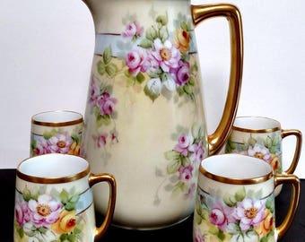 Howard Reury signed Antique Porcelain Bavaria Coffee Tea Chocolate Pot w/4 cups