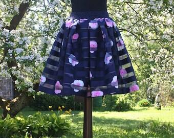 Pleated flower skirt pleated skirt flyffy skirt organza skirt taffeta skirt navy skirt floral skirt Ready to ship date skirt flower skirt