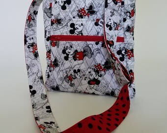 Quilted Cross Body, Messenger, Hipster Purse iPad Bag made from Disney Fabric