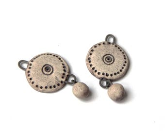 RUSTIC and EARTHY pair of stoneware pendants, ceramic beads - handmade jewelry components