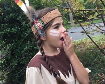 Book Week Costume ~ Hens Party Native American Indian Feather Headdress ~ Costume Party ~ Dress Up~  Halloween Cow Boys and Indian