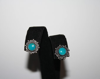 Vintage Sterling Silver And Turquoise Flower Etched Clip on Earrings